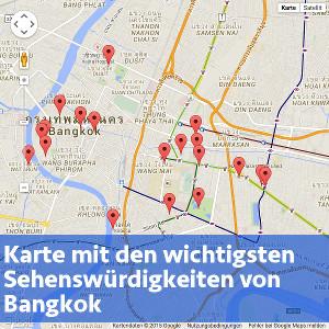 Karte mit den wichtigsten Sehenswürdigkeiten von Bangkok