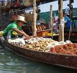 Bangkok Schwimmender Markt Damneoen Saduak
